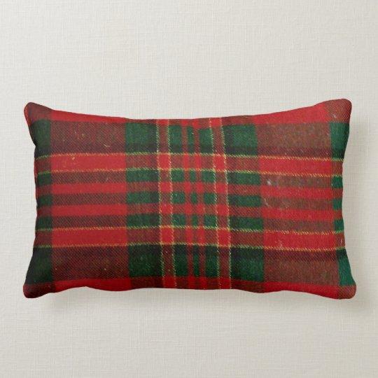 Red Plaid Lumbar Throw Pillow