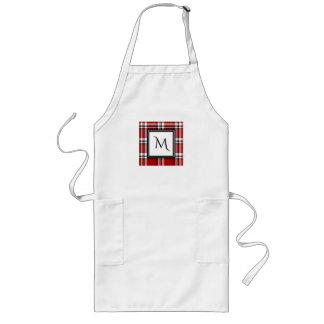 Red Plaid Monogram Block Chef's Apron