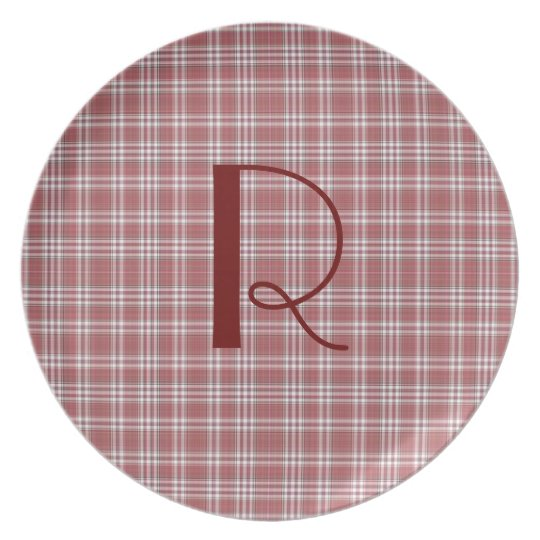 Red Plaid Monogram Plate