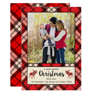 Red Plaid & Moose Rustic Christmas Photo Card