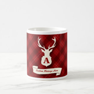 Red Plaid Mug with Stags Head and Custom Message