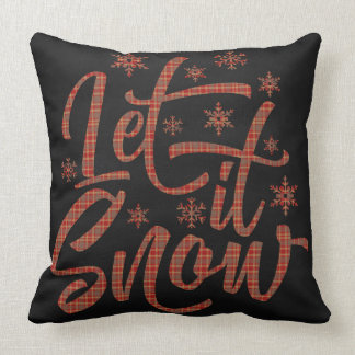 Red Plaid on Black Chalboard | Let It Snow Throw Pillow