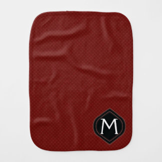 Red Plaid Pattern With Initial Burp Cloth