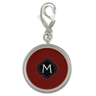 Red Plaid Pattern With Initial Charm