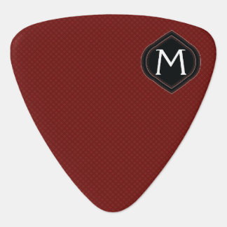 Red Plaid Pattern With Initial Guitar Pick