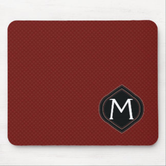 Red Plaid Pattern With Initial Mouse Pad
