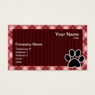 Red Plaid Paw Print Business Card