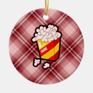 Red Plaid Popcorn Ornament