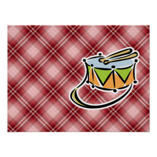 Red Plaid Snare Drum Print