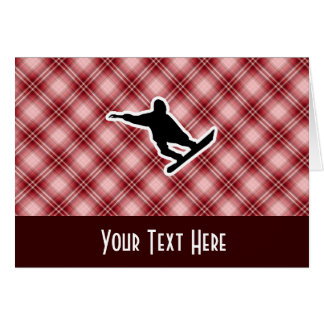 Red Plaid Snowboarding Card