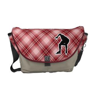 Red Plaid Speed Skater Messenger Bag