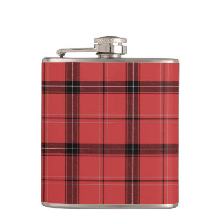Red Plaid Tartan Christmas Holiday Pattern Hip Flask