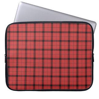 Red Plaid Tartan Christmas Holiday Pattern Laptop Sleeve