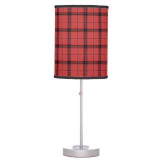 Red Plaid Tartan Christmas Holiday Pattern Table Lamp