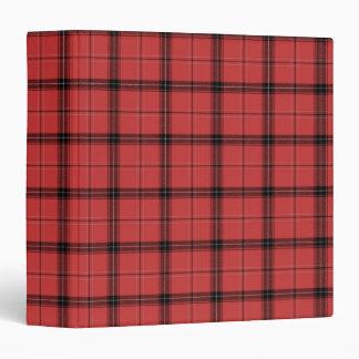 Red Plaid Tartan Pattern Christmas Holiday Moose 3 Ring Binder