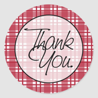 Red Plaid | Thank You Classic Round Sticker