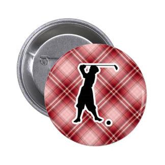 Red Plaid Vintage Golfer 2 Inch Round Button