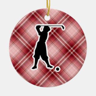 Red Plaid Vintage Golfer Round Ceramic Ornament