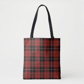 Red plaid with black and yellow stripe tote bag