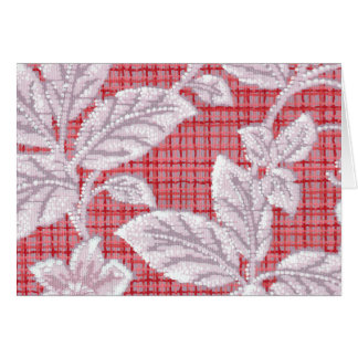Red Plaid with Leaves Vintage Wallpaper Card