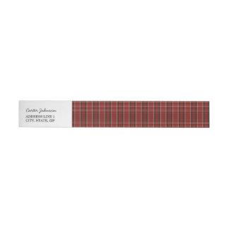 Red Plaid Wrap Around Return Address Label