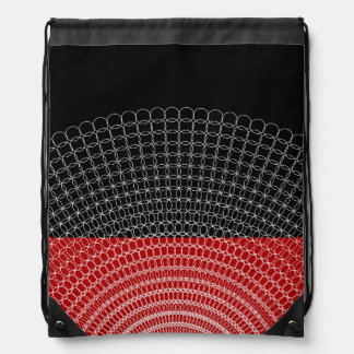 Red Planet Geometric Pattern Drawstring Bag