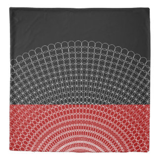 Red Planet Geometric Pattern Duvet Cover
