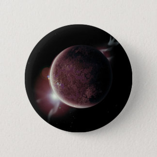 red planet in the universe with aura and stars 2 inch round button