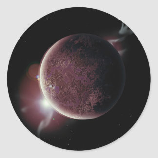 red planet in the universe with aura and stars classic round sticker