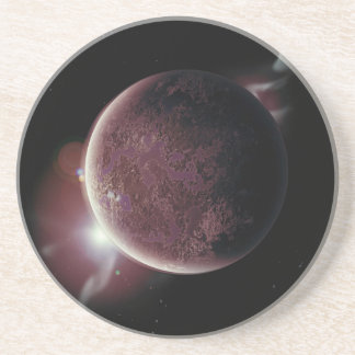 red planet in the universe with aura and stars coaster