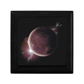 red planet in the universe with aura and stars gift box