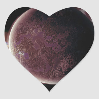red planet in the universe with aura and stars heart sticker