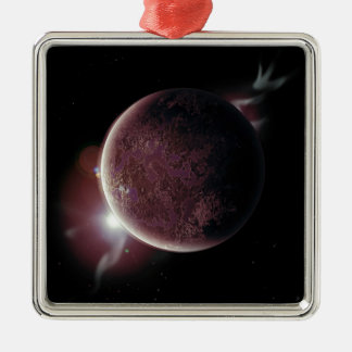 red planet in the universe with aura and stars metal ornament