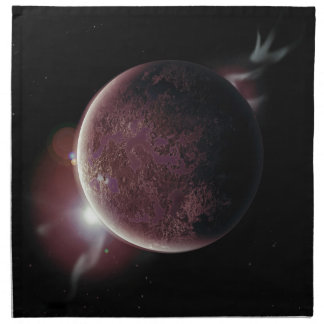 red planet in the universe with aura and stars napkin