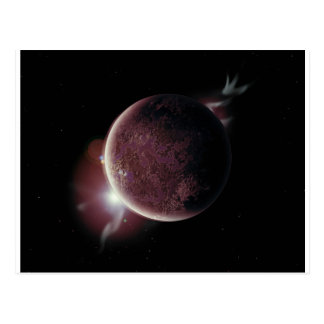red planet in the universe with aura and stars postcard