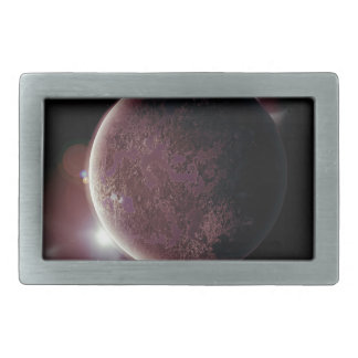 red planet in the universe with aura and stars rectangular belt buckles