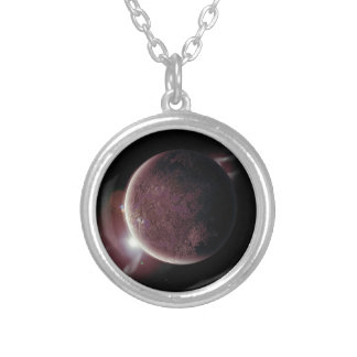 red planet in the universe with aura and stars silver plated necklace