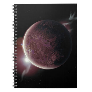 red planet in the universe with aura and stars spiral notebook