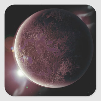 red planet in the universe with aura and stars square sticker