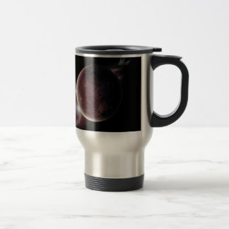 red planet in the universe with aura and stars travel mug