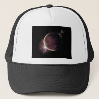 red planet in the universe with aura and stars trucker hat