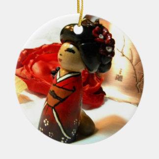 Red Plum I Ceramic Ornament
