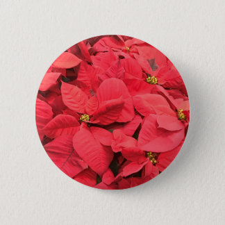 Red  Poinsettia 2 Inch Round Button