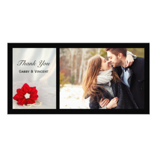 Red Poinsettia and Pearls Winter Wedding Thank You Photo Card