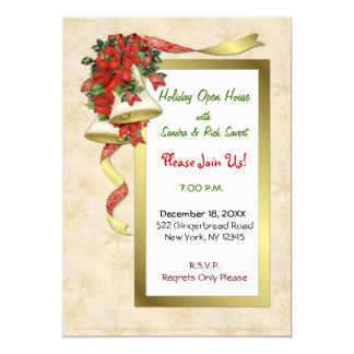 Red Poinsettia Bells Card