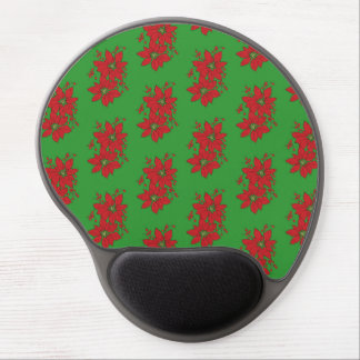 Red Poinsettia Christmas Patte Gel Mouse Pad