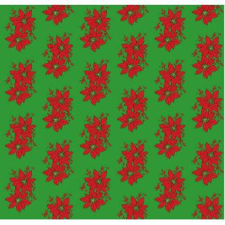 Red Poinsettia Christmas Patte Photo Sculpture Button