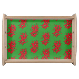 Red Poinsettia Christmas Patte Serving Tray