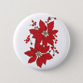 Red Poinsettia Christmas Pattern 2 Inch Round Button