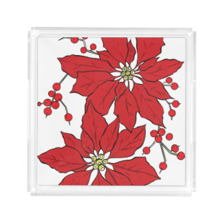 Red Poinsettia Christmas Pattern Acrylic Tray